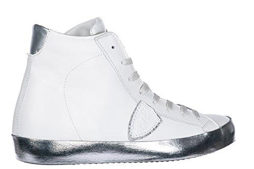 Philippe Model Dames Damesschoenen Lederen Schoenen Hoge Sneakers Paris H Wit