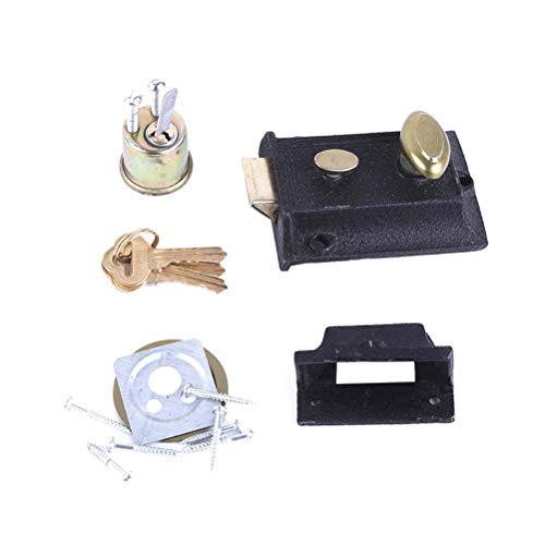 (Yardwe Vintage Door Lock Spring Lock Iron Lock for Home Outer Door)