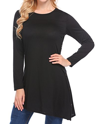EASTHER Women's Casual Scoop Neck Button Long Sleeve Loose Long T-Shirt Tunic Top