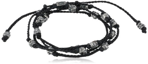 M.Cohen Handmade Designs Multi-Wrap with Sterling Silver Skulls on Knotted Wax Cord by M.Cohen Handmade Designs