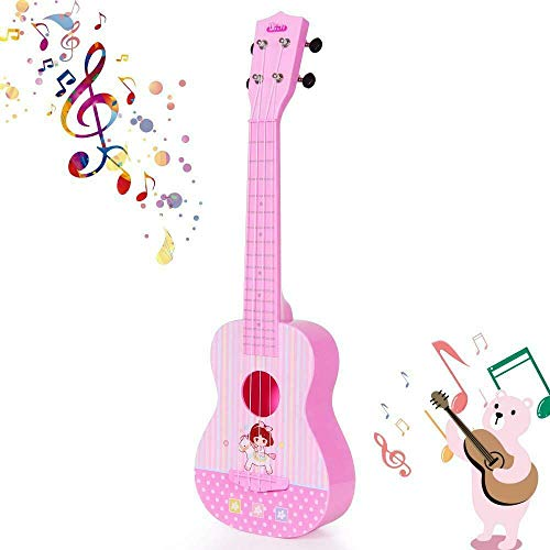 HANMUN Unicorn Musical Ukulele Guitar Toys – 2019 Pink Guitar with 4 Strings Musical Instruments Learning Educational Toys for Kids Children Adult Children (Pink) …