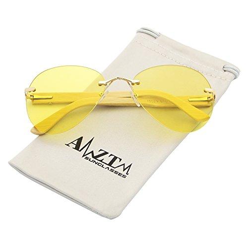 AMZTM Night Reducing Glare Driving Glasses Classic Modern Eyewear Frames Bamboo Wooden Fashion Rimless Aviator Sunglasses For Women and Men 100% UV400 Protection (yellow, - Reducing Glare Sunglasses Best