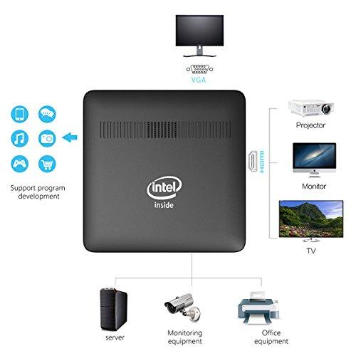 Z83-W Fanless Mini PC Desktop, Windows 10 64-bit Intel x5-Z8350 (Up To 1.92 GHz) HD Graphics, DDR3L 2GB/ 32GB eMMC/ 4K/ 1000M LAN/ 2.4/5.8GHz WiFi/ BT 4.0 [Dual Output - VGA/HDMI] by Plater (Image #5)