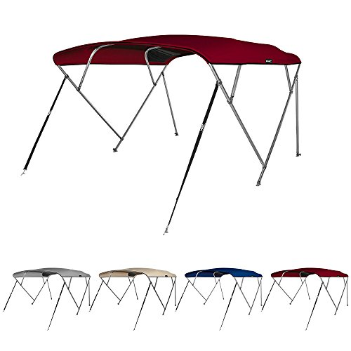 "MSC 4 Bow Bimini Boat Top Cover with Rear Support Pole and Storage Boot, Color Grey, Burgundy,Navy,Beige available (Burgundy, 4 Bow 8'L x 54""H x 79""-84""W)"