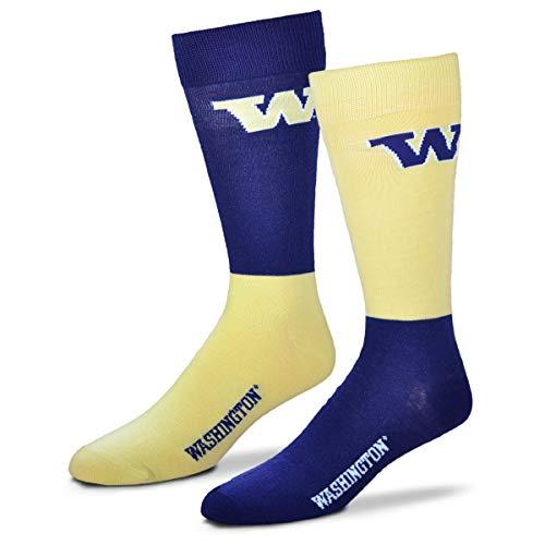 (For Bare Feet Men's NCAA 4-Square Mismatch Dress Socks-Size Large (10-13) (Washington Huskies))