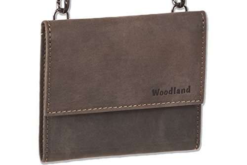 Woodland - Big Money bag con portafoglio in morbida pelle di bufalo trattata in marrone scuro / Taupe