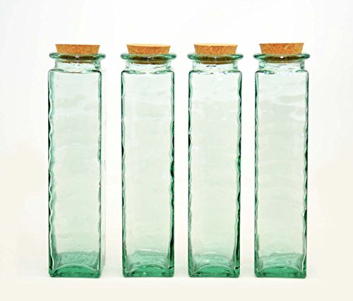 Set of 4, Storage Jars w/ Cork Tops, Recycled Spanish Glass-12 Inches High (Jar Recycled Glass)