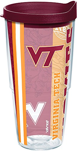 (Tervis 1221253 Virginia Tech Hokies College Pride Tumbler with Wrap and Maroon Lid 24oz, Clear)