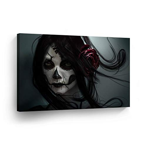 Day of The Dead Gothic Girl Skull Make up Rose on Hair Gray Background Canvas Print Sugar Skull Decor Wall Art Home Decor Stretched and Ready to Hang -%100 Handmade in The USA - 24x36