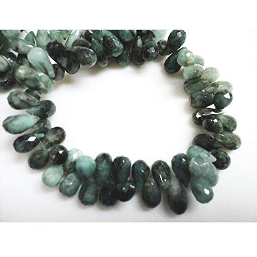 Super Quality Gemstone Beautiful Jewelry Emerald Briolette Beads/Faceted Gemstone/Tear Drop Bead/ 6x11mm Each, Full Strand 8 Inches Code-JP-3170   B07KNQPNN8