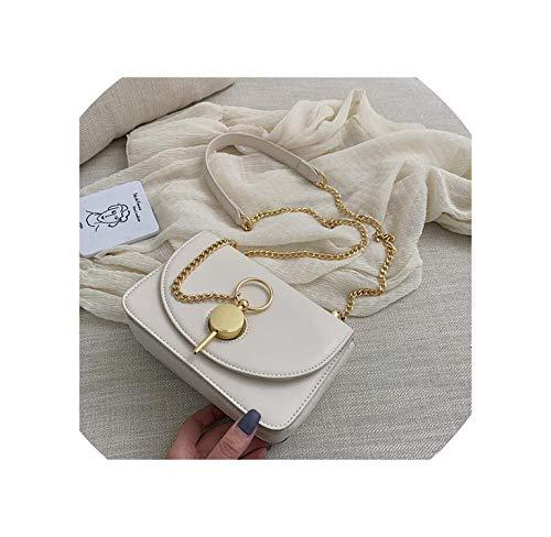 (New Small Bag Simple Girl Bag Chic Chain Slant Slant Small Bag Of The Hundred Tide,White,18.5X6X12Cm)