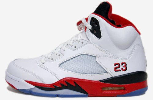 NIKE AIR JORDAN 5 RETRO WHITE/FIRE RED-BLACK (USW 4Y-7Y) 440888-120 (5Y (23.5 CM);) by NIKE