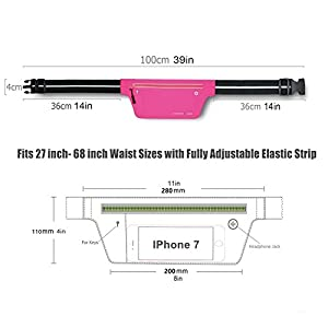 Fitter's Niche UltraSlim Fitness Sport Running Belt Fanny Pack, Water Resistant, 360 Degree 3M Reflective Adjustable Waistband, for Smartphone Android iPhone up to 6 inches, Fluorescent Pink