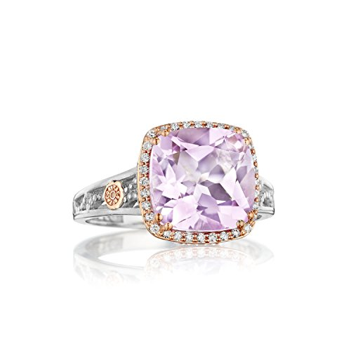 Tacori SR226P01 Two-Tone Diamond and Amethyst Ring, Size 8 (0.40 cttw, H-I Color, I2-I3 Clarity)