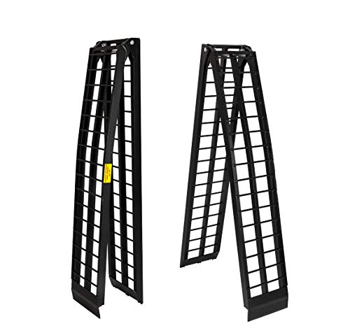 Motorhot 2 Pcs 10 ft Aluminum Folding Loading Ramps Lawnmower ATV Truck Motorcycle Ramp Black 1200lb Capacity