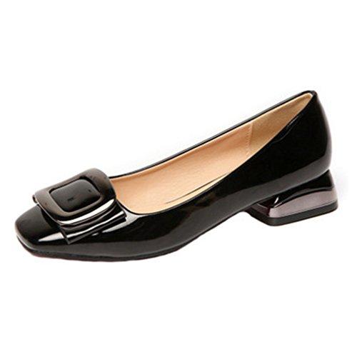 Giy Kvinners Kjole Pumper Loafers Firkantet Tå Komfort Slip-on Spenne Blokk Hæl Tilfeldige Klassisk Loafer Sko Svart