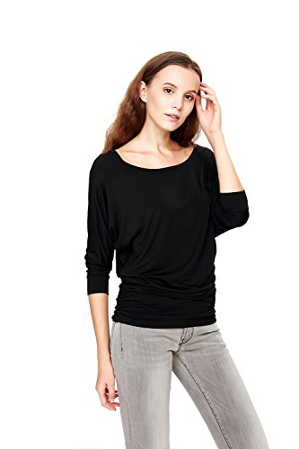 Drape Neck Long Sleeve - HIYIN Womens 3/4 Sleeves Modal Boat Neck Drape Blouse T-Shirt Tops With Side Shirring(Large,Balck)