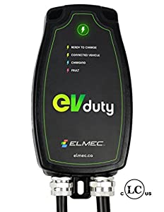 EVduty 30A Level 2 electric vehicle charging station (240V) - Portable EVSE compatible with all plug-in vehicules - Indoor/Outdoor installation - Safety certified - 25' cable + wall mount included