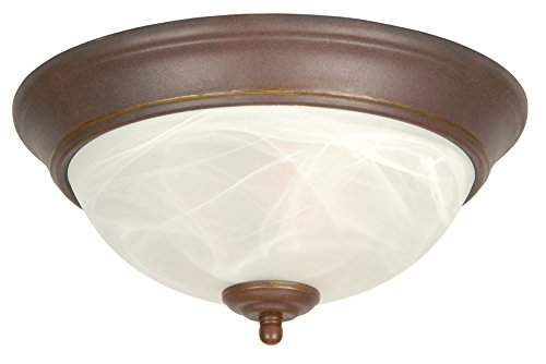Swirl Alabaster Bowl (Craftmade X215-AG Bowl Flush Mount Light with Alabaster Swirl Glass Shades, Aged Bronze Finish)