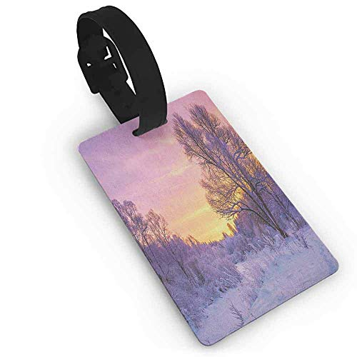Personalized Luggage Tags Travel Accessories ID Cards Baggage - Winter Landscape with Sunset and Frozen Trees Ice Weather Blizzard Cold Days