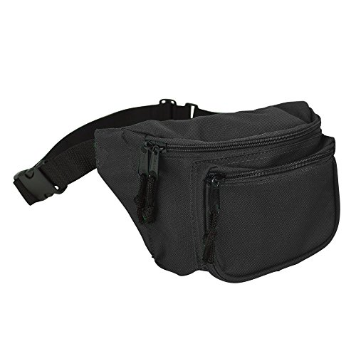 DALIX 3 Pocket Fanny Pack in Black -