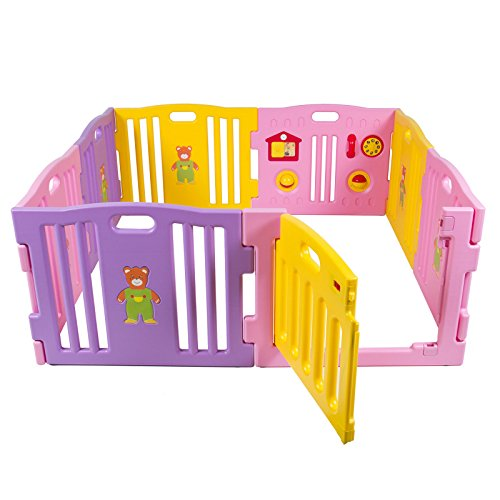 Fast US Ship Baby Playpen Kids 8Panel Safety Play Center Yard Home Indoor/Outdoor- Pink- Girls by Unbranded