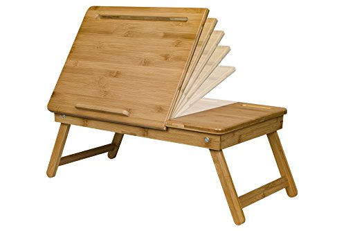 LapGear Safety-Tilt Laptop Table with phone slot - Natural Bamboo (Fits up to 12.9'' Tablet/17.3'' Laptop) by Lap Desk