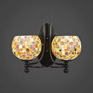 2 Light Wall Sconce In Dark Granite With 6 in. Sea Shell Glass