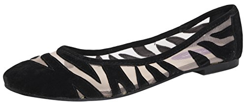 Black SEE GIRLS WOMENS ZEBRA LADIES THROUGH TRANSPARENT 3 SHOES BALLET STRIPE BALLERINAS FLATS PUMPS 8 LD Outlet wgqRpna