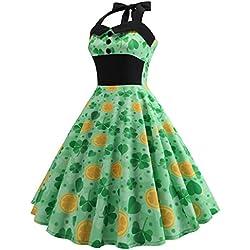 YKARITIANNA Women St. Patrick's Day Halter Sleeveless Evening Party Prom Swing Dress Green