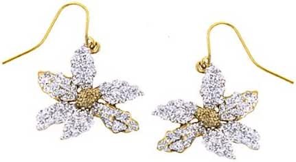 1928 Jewelry Sparkling Crystal Poinsettia Earrings