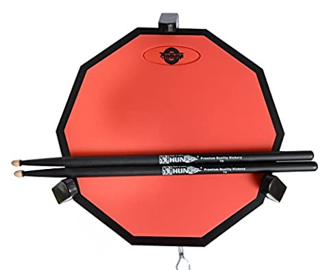 Tromme Drum Practice Pad & Carrying Case – 12 Inches – Two-Sided Silicone – Wooden Base with Real Drum Feel – Practice Quietly -Sticks and Stand NOT INCLUDED (Red)