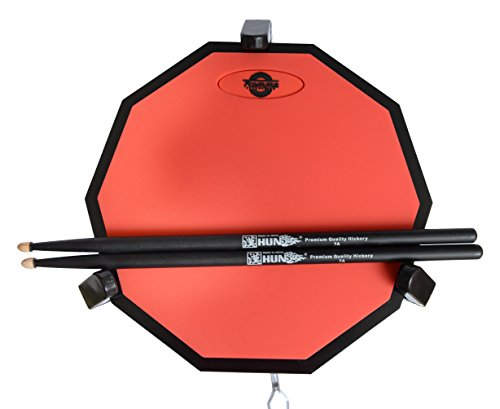 Tromme Drum Practice Pad & Carrying Case - 12 Inches - Silicone - Wooden Base with Real Drum Feel - Practice Quietly -Sticks and Stand NOT INCLUDED (Red)