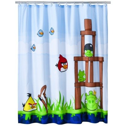 Disney Angry Birds Fabric Shower Curtain (Angry Bird Curtains)