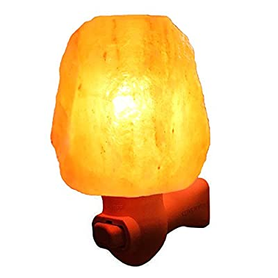 Litake Himalayan Salt Lamp Hand Carved Natural Crystal Mini Salt Night Light Wireless Bulb Replaceable Nursery Lamp for Home Office Bedroom Gift-15W 15.87oz Air Purifier UL Wall Plug