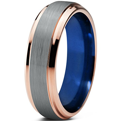 Tungsten Wedding Band Ring 6mm 8mm for Men Women Blue 18k Rose Gold Beveled Edge Brushed Polished FREE Custom Laser Engraving Lifetime Guarantee