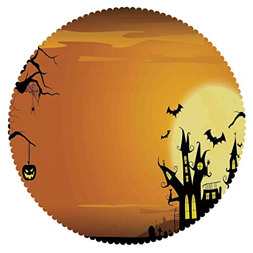 iPrint Upscale Round Tablecloth [ Halloween Decorations,Gothic Haunted House Bats Western Spooky Night Scene with Pumpkin,Orange Black ] Fabric Home Tablecloth Ideas