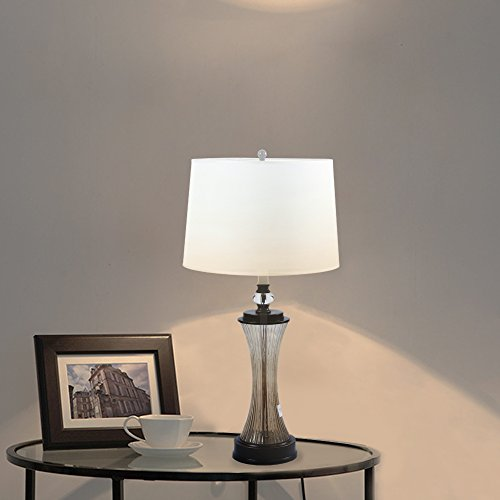 Desk Table Lamp for Bedroom - HAITRAL Modern Bedside Night Light Lamp With Fabric Shade Glass Metal Base Contemporary Office Desk Lamp for Living room, Bedroom, Bookcase, Cafe E26 Socket(Bulb (Fabric Shade Glass)