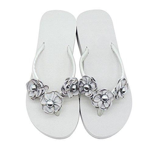 y Chicas Mujer con Slipper Clip Slip en Wedge Seaside Perlas Toe Grises Flores para Damas Casual Wedge Talón On Mid Sweet Beach Platform 7cm EVA Sandal Verano Zapatos B77fxnSv