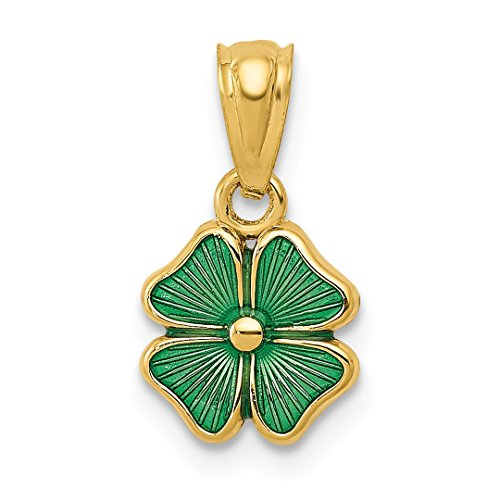 (14k Yellow Gold Green Enameled Four Leaf Clover Pendant Charm Necklace Good Luck Italian Horn Fine Jewelry For Women Gift Set)