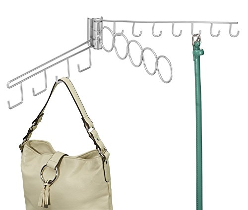mDesign Wire Shelving Track Closet Organizer for Scarves, Ties, Accessories - 15 Loops, Silver (Linen Closet Shelving Systems)