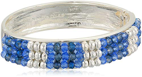 Kenneth Cole Women's Woven Bead Hinged Bangle Bracelet, Blue Mix, One Size