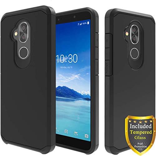 Alcatel 7 Case, T-Mobile Revvl 2 Plus Case, Alcatel 7 Folio Case, with Full Cover Tempered Glass Screen Protector, ATUS - Hybrid Dual Layer Protective TPU Case (Black/Black)
