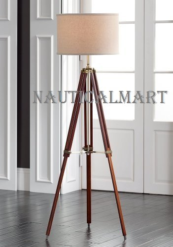 Designer Cherry Finish Tripod Floor Lamp For Living Room By (Beige Outdoor Floor Lamp)