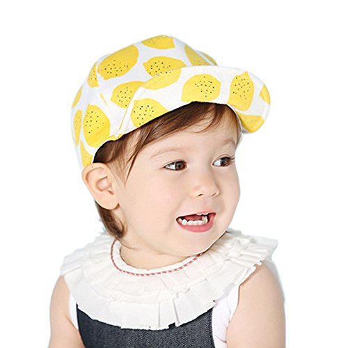 SMALLE Clearance Cute Toddler Kids Baby Boys Girls Baseball Cap Lemon Printed Sunhat Cap Sunhat (46-52cm(Head Circumference), Yellow)