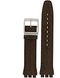 Swatch Style Watch Band Brown Italian Leather 19 millimeters