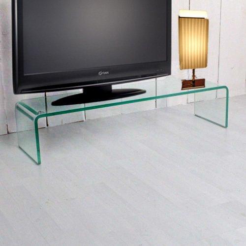 Mesa para TV RACK HUGO, 12 mm con cristal curvado: Amazon.es: Hogar