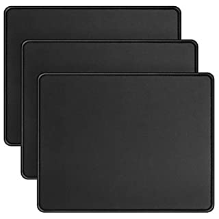 Mouse Pad with Stitched Edge 10.2×8.3×0.08 inches Premium-Textured Non-Slip Rubber Base Mouse Mat Mousepad for Office & Home, Black (3 Pack)