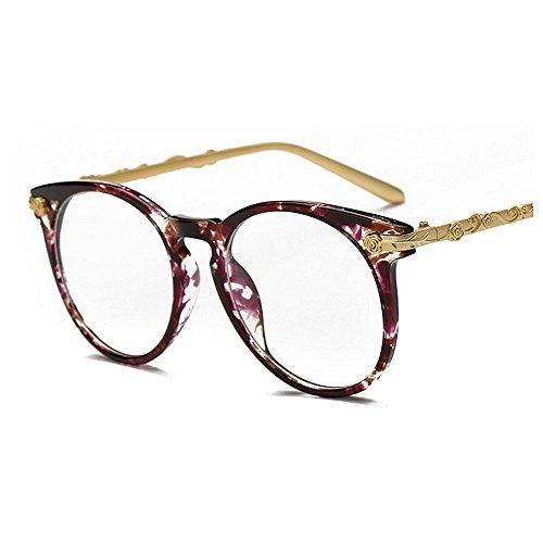 Classic señora Gafas UV mujer de Colorful de Gafas para sol de Púrpura Frame Round Gu sol conducir Charm Púrpura Protección Rimmed Gafas Viajar para Flower Peggy Retro Rimmed de Color sol nSHZYzP