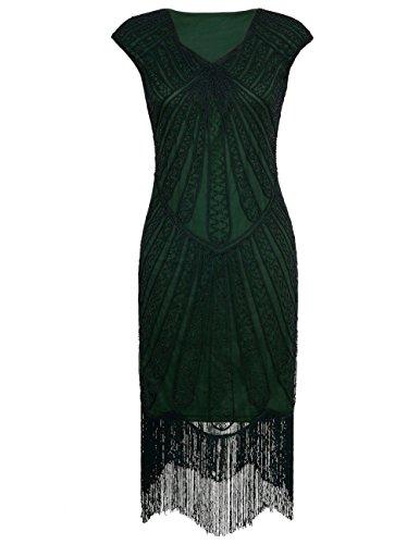 PrettyGuide Mujeres 1920s Cóctel Perlas Art Deco Vestido de Flapper Verde